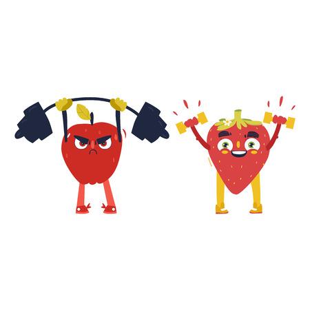 Grappige appel en aardbeikarakters die in gymnastiek, gewichtheffen uitwerken, beeldverhaal vectordieillustratie op witte achtergrond wordt geïsoleerd. Grappige fruitkarakters - appel en aardbei, sporthelden