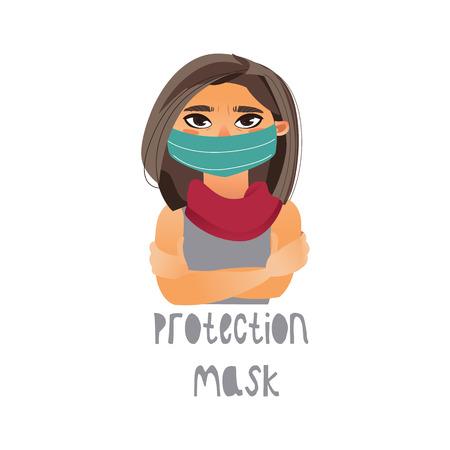 Máscara vestindo e lenço da proteção da rapariga do vetor. Apartamento isolado ilustração sobre um fundo branco. Conceito de sintomas de doença e doença