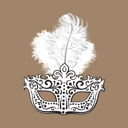 Beautifully decorated Venetian carnival mask with feathers and ornaments, sketch style vector illustration isolated on brown background. Realistic hand drawing of carnival, Venetian mask