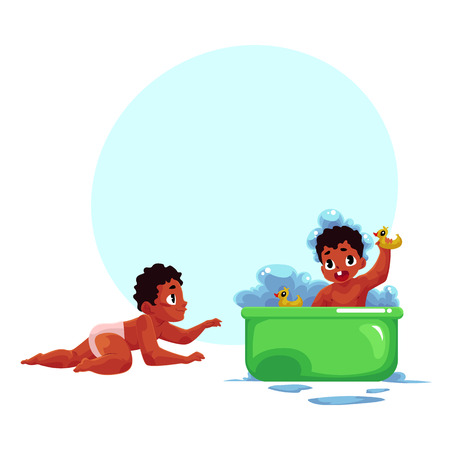 Cute poco negro, African American bebé, niño, niño tomando baño con patos de goma, ilustración vectorial de dibujos animados con espacio para texto. Pequeño bebé negro, afroamericano tomando baño de espuma Foto de archivo - 83613528