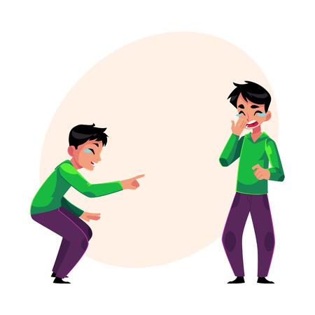 Junger Mann weinend vor Lachen, zeigt, Mund mit seinem Mund, Cartoon-Vektor-Illustration mit Platz für Text. Porträt des jungen Mannes vor Lachen platzen, lachen zu Tränen Standard-Bild - 83613529