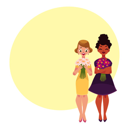 Two women, girls, black and Caucasian, holding bunches of flowers, cartoon vector illustration with space for text. Full length portrait of happy black and white girls, women with flowers