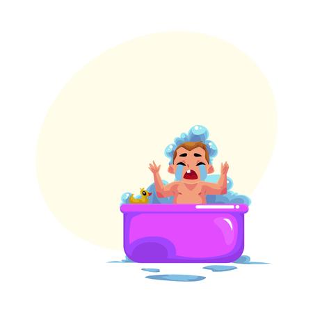 Joli petit bébé enfant, bébé, enfant qui pleure dans un bain moussant, ne veut pas se laver, illustration de vecteur de dessin animé avec un espace pour le texte. Petit enfant caucasien, bébé, bébé pleure tristement dans un bain moussant Banque d'images - 83613553