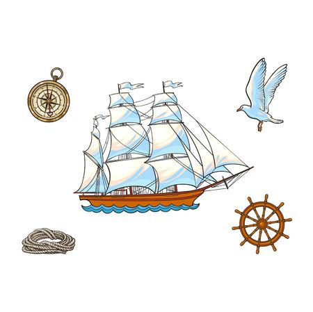 Zeevaartreeks van schip, kompas, zeemeeuw, kabel en stuurwiel, beeldverhaal vectordieillustratie op witte achtergrond wordt geïsoleerd. Cartoon nautische set zeilboot, kompas, touw, zeemeeuw en stuurwiel