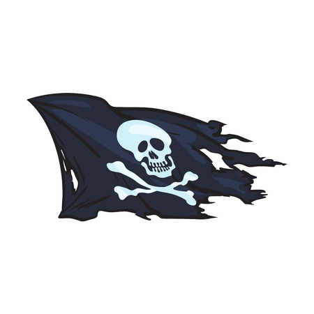 halloween background: vector cartoon skull and cross bones flag isolated illustration on a white background. Jolly roger flag, pirates adventure , treasure risk and death symbol
