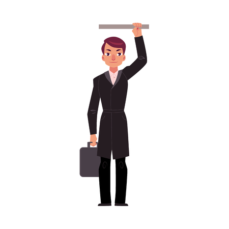 Businessman holding briefcase in subway, standing and holding handrail, cartoon vector illustration isolated on white background. Full length portrait of businessman, business man in subway, bus