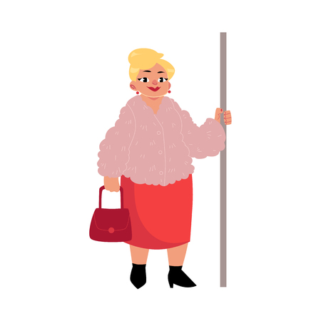 Plump middle age woman, housewife with purse standing in subway, holding handrail, cartoon vector illustration isolated on white background. Full length portrait of funny plump, obese woman in subway Ilustração