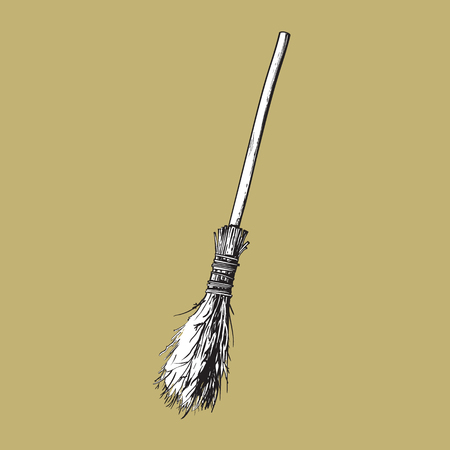 Single old twig broom, broomstick, traditional Halloween symbol, sketch style vector illustration isolated on background. Hand drawn, sketch style witch broom, broomstick, Halloween object Illustration