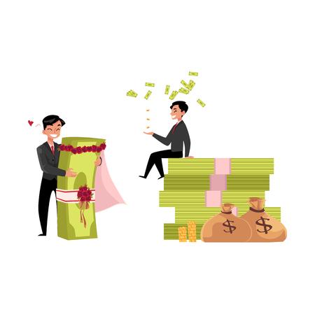 VektorBüroangestellter, der, sitzend auf Geldstapelsatz heiratet. Flache Karikatur lokalisierte Illustration auf einem weißen Hintergrund. Glücklicher lächelnder Manncharakter. Geld Erfolg Gewinn und Reichtum Konzept Standard-Bild - 83613571
