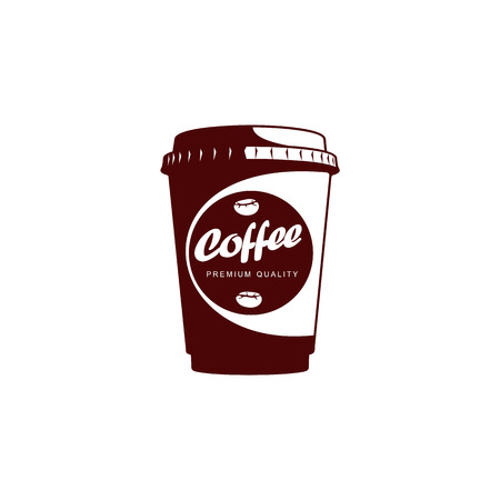 Vector Disposable papper cup of Coffee .coffee concept flat icon. line icon illustration isolated on a white background. Фото со стока - 83678297