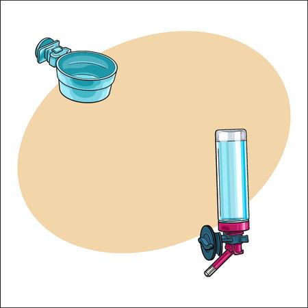 自動詰め替えを飲む人、ペット、猫、犬、オウムのケージ、犬小屋、箱のためのプラスチック製のボウルは、テキスト用のスペース、ベクトル図を  イラスト・ベクター素材