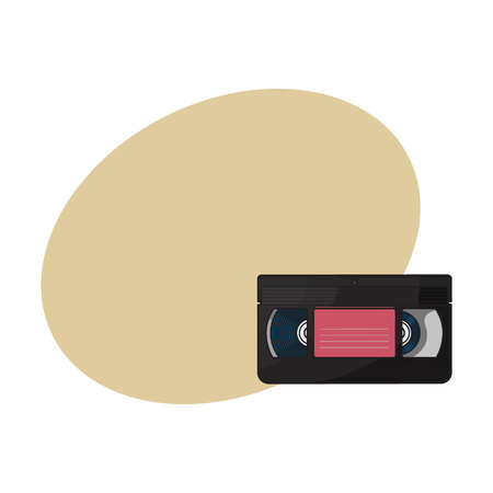 Video cassette, VHS videotape from 90s, sketch vector illustration with space for text. Front view of hand drawn video tape, videocassette, VHS with empty label sticker, retro object from 90s Illustration