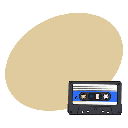 walkman: Old fashioned, retro audio cassette from 90s, sketch vector illustration with space for text. Front view of hand drawn audio cassette, tape with empty label sticker, retro object from 90s Illustration