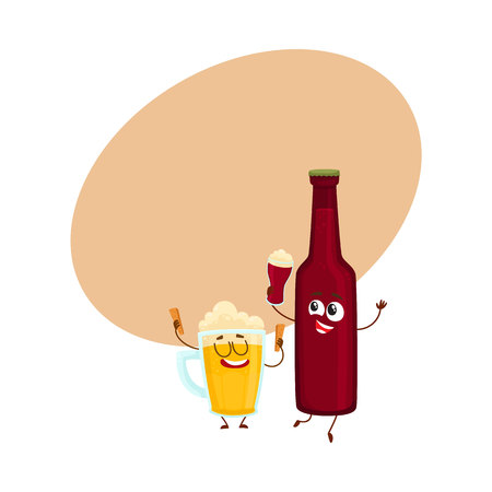 Funny beer bottle and glass characters having fun, drinking, holding glasses, cartoon vector illustration with space for text. Funny beer bottle and glass characters with smiling human faces