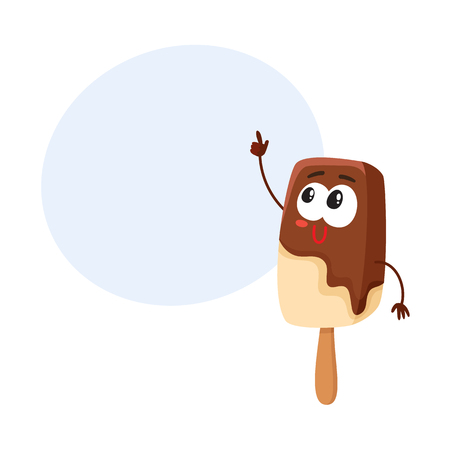 Funny smiling ice cream on stick, popsicle character pointing finger, cartoon style vector illustration with space for text. Cute smiley chocolate ice cream on stick character