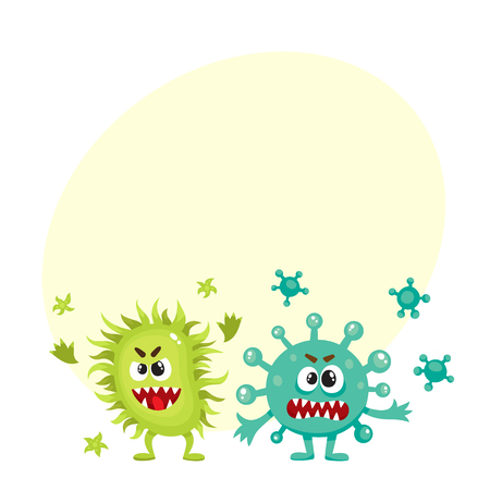 Couple of virus, germ, bacteria characters with human faces and sharp teeth, cartoon vector illustration with space for text. Scary bacteria, virus, germ monsters, pathogens, microorganisms