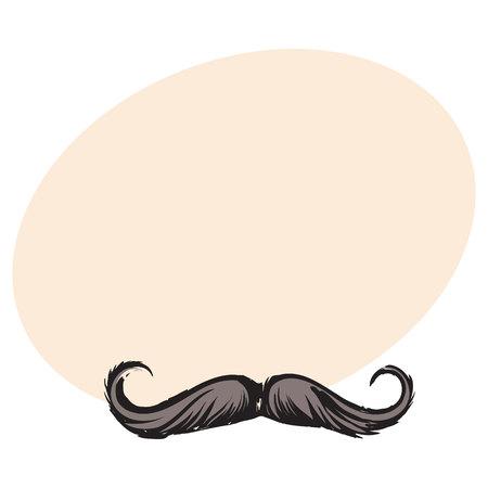 인간의 hipster 콧수염, 장식 요소, 텍스트위한 공간을 가진 스케치 스타일 벡터 일러스트를 웅크 리고. 인간의 hipster 스타일 콧수염의 현실적인 격리 된