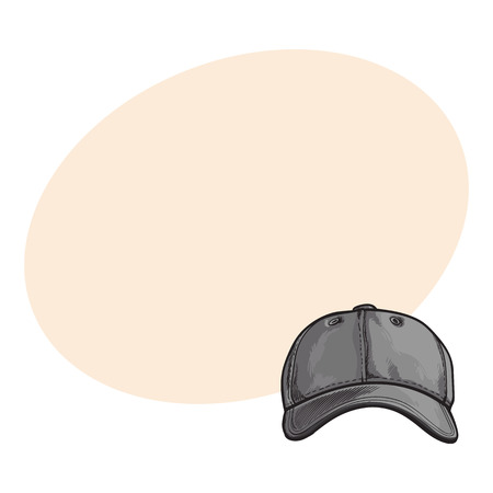 Clean, unlabelled grey colored textile baseball cap, sketch style vector illustration with space for text. Realistic isolated hand drawing of grey baseball cap, front view Çizim
