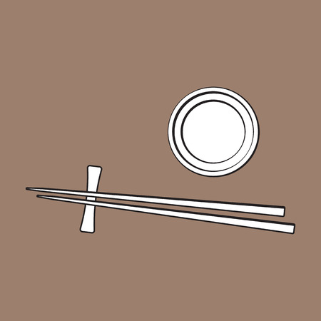 Bamboo Asian, Chinese, Japanese chopsticks lying on soy sauce bowl, sketch vector illustration isolated on brown background. Traditional Chinese, Japanese, Thai cuisine - chopsticks and soy sauce Çizim