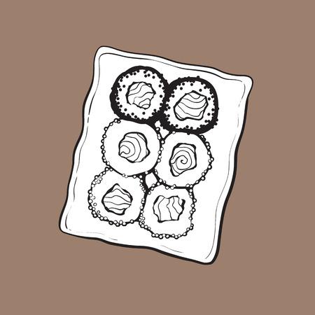 寿司セット、上面の手書きのプレート スケッチ スタイルのベクトル図は、茶色の背景に分離。寿司サービング プレート, アジア, 中国, 日本料理