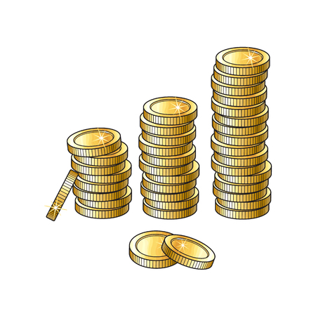 Vector golden coins stacks, columns isolated on a white background. Cartoon golden money pillars illustration . Profit, wealth ,success concept. Sign of banking, finance business. Winning symbol