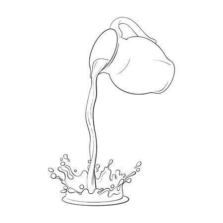 Tekening van vloeistof, drinken gieten van pot, het maken van een plons, schets vectorillustratie geïsoleerd op een witte achtergrond. Hand getrokken glazen pot met vloeibare melk gieten van het in splash
