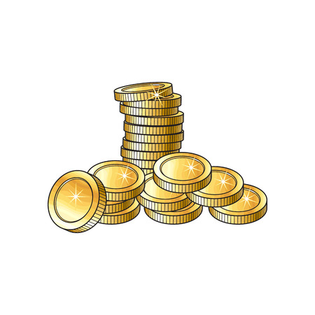 Stack and heap of shiny gold coins, sketch vector illustration isolated on white background. Realistic hand drawing of stack and heap of blank, unlabeled golden coins, investment money symbol Illustration