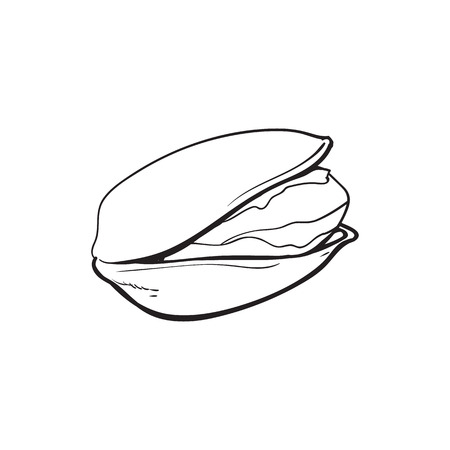 Single black and white pistachio nut, hand drawn sketch style vector illustration isolated on white background. Realistic hand drawing of pistachio nut, vegetarian snack Stock Vector - 83678362