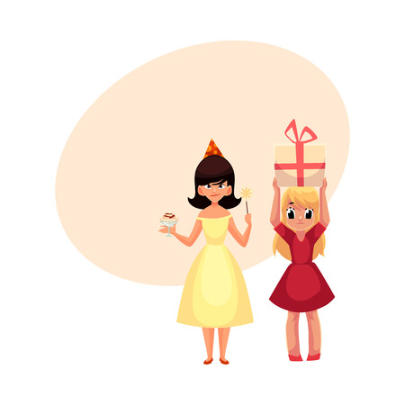 Two girls at birthday party, one mischievous with ice cream and magic wand, another holding big gift, cartoon vector illustration with space for text. Happy girls having fun at birthday party Illustration