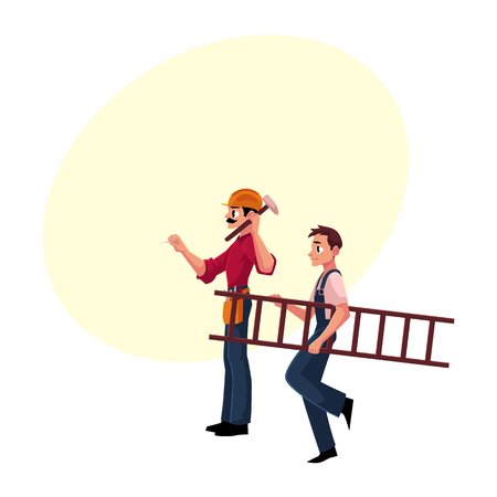Two construction workers - one driving nail with hammer, another carrying ladder, cartoon vector illustration with space for text. Full length portrait of two construction site workers Ilustração