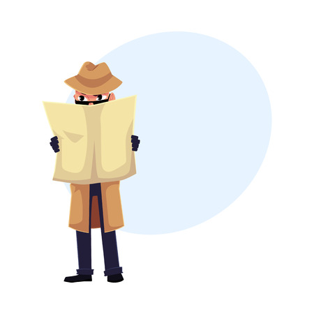 Comic detective character spying on somebody, hiding behind newspaper, cartoon vector illustration with space for text. Full length portrait of funny detective character at surveillance work