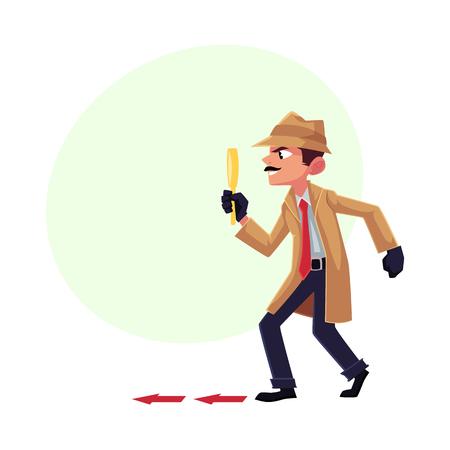 Detectivekarakter het volgende, tiptoeing na iemand met vergrootglas, beeldverhaal vectorillustratie met ruimte voor tekst. Volledig lengteportret van grappig detectivekarakter op het werk