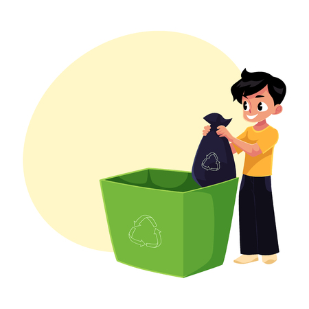 Boy putting garbage bag into trash bin, waste recycling concept, cartoon vector illustration with space for text. Full length portrait of boy throwing garbage bag into trash bin Ilustrace