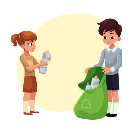 Kids, boy and girl, collect plastic bottles into garbage bag, waste recycling concept, cartoon vector illustration with space for text. Children, boy and girl, collect plastic bottle garbage Иллюстрация