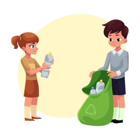 Kinderen, jongen en meisje, verzamelen plastic flessen in vuilniszak, afval recycling concept, cartoon vectorillustratie met ruimte voor tekst. Kinderen, jongen en meisje, verzamelen plastic flessen afval
