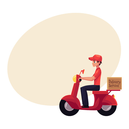 Courier, delivery service worker riding scooter, motorcycle loaded with boxes, cartoon vector illustration with space for text. Young courier delivering packages by driving motorbike, scooter Illustration