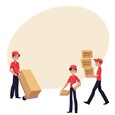 Young man working as courier, delivering goods, parcel, boxes, cartoon vector illustration with space for text.