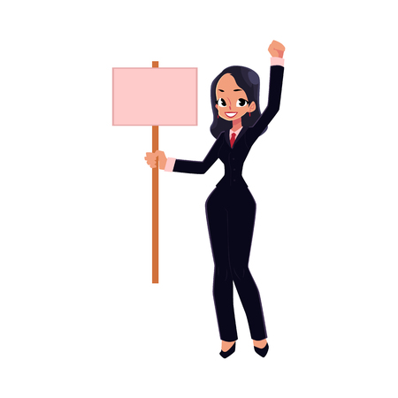 conflictos sociales: Smiling girl, woman, businesswoman on strike holding empty board in hand, cartoon vector illustration isolated on white background. Business woman with empty board on strike, full length portrait