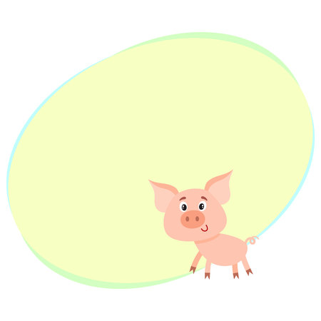 Funny little smiling pig with swirling tail, cartoon vector illustration with space for text. Cute little pig standing on four legs and smiling shyly, decoration element