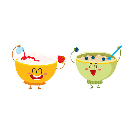 produits céréaliers: Two funny bowl characters - cottage cheese and oatmeal porridge, breakfast options, cartoon vector illustration isolated on white background. Cute and funny cottage cheese and oatmeal bowl characters Illustration