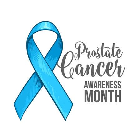 前立腺癌意識月バナー、ポスター、手描き青リボン、スケッチ ベクトル イラスト テンプレートです。手の描かれたブルーのリボン、前立腺癌意識