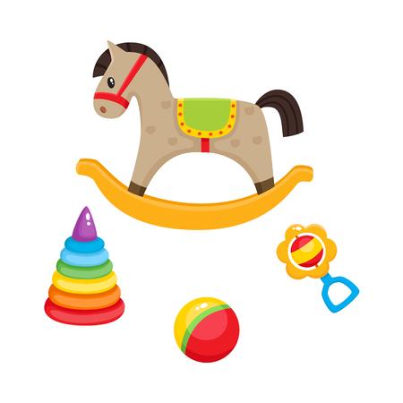 フラット スタイルのベクトル赤ちゃんのおもちゃのセットです。ロッキング馬、プラスチックのピラミッド、ストライプのボールとガラガラのグッ