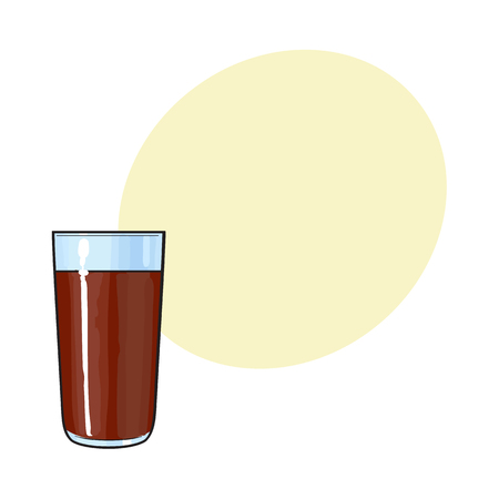 Side view drawing of chocolate milk, cocoa glass, sketch vector illustration with space for text. Hand drawn tall glass of cold chocolate milk