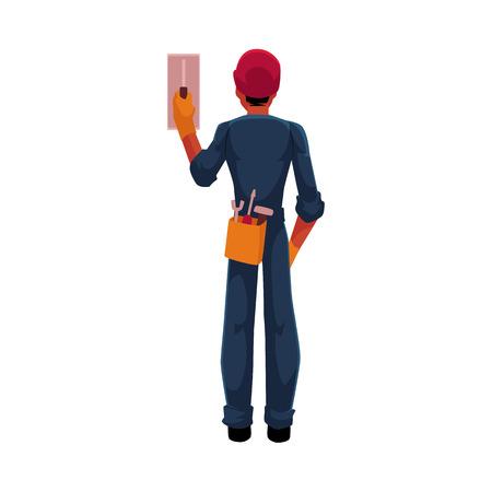 Trabajador de la construcción, electricista, técnico en hardhat y mono conmutador interruptor de contacto, ilustración vectorial de dibujos animados aislado sobre fondo blanco. Longitud total, retrato de la vista posterior del electricista Foto de archivo - 83739044