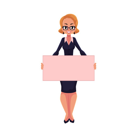 Girl, woman, businesswoman on strike holding empty board with two hands, cartoon vector illustration isolated on white background. Businesswoman, woman with empty board on strike