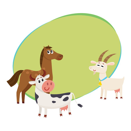 Farm horse, cow and goat, cartoon vector illustration with space for text. Cute and funny farm horse, goat, cow with friendly faces and big eyes Illustration