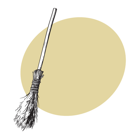Single old twig broom, broomstick, traditional Halloween symbol, sketch style vector illustration with space for text. Hand drawn, sketch style witch broom, broomstick, Halloween object Çizim