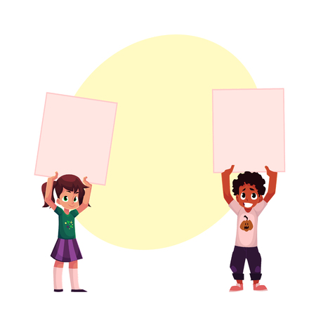 Two kids, black and Caucasian, holding blank empty posters over head, cartoon vector illustration with space for text. Two little kids, children holding empty, blank posters, boards