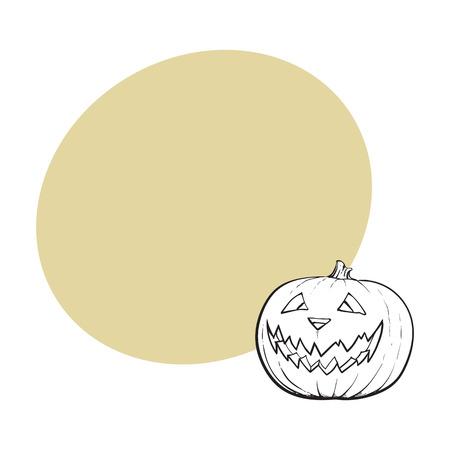Laterne Jacks O, reifer Kürbis mit geschnitztem furchtsamem Gesicht, traditionelles Halloween-Symbol, Skizzenvektorillustration mit Raum für Text. Hand gezeichneter Halloween-Kürbis, Kürbislaterne Standard-Bild - 83739066