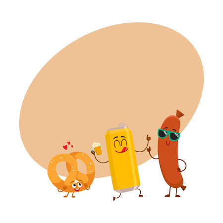 Happy beer bottle, pretzel and frankfurter sausage characters having party, cartoon vector illustration with space for text. Funny smiling beer bottle, pretzel, sausage characters celebrating
